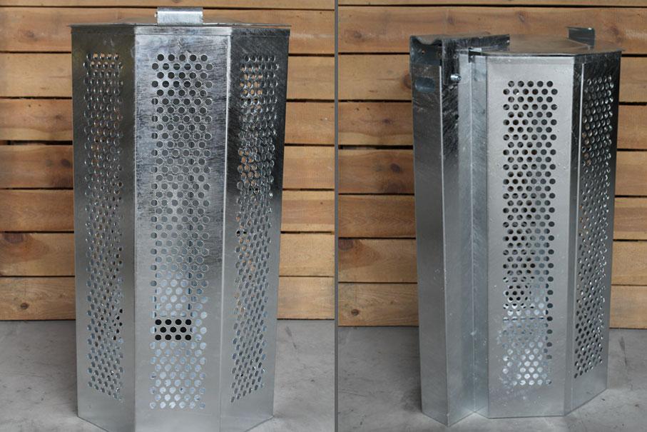 Geperforeerde afvalbak met deksel thermisch verzinkt